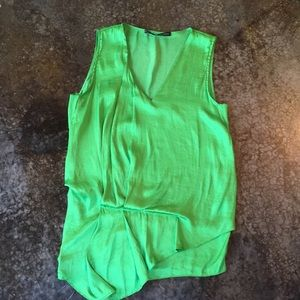 Zara basic drapey green silky top